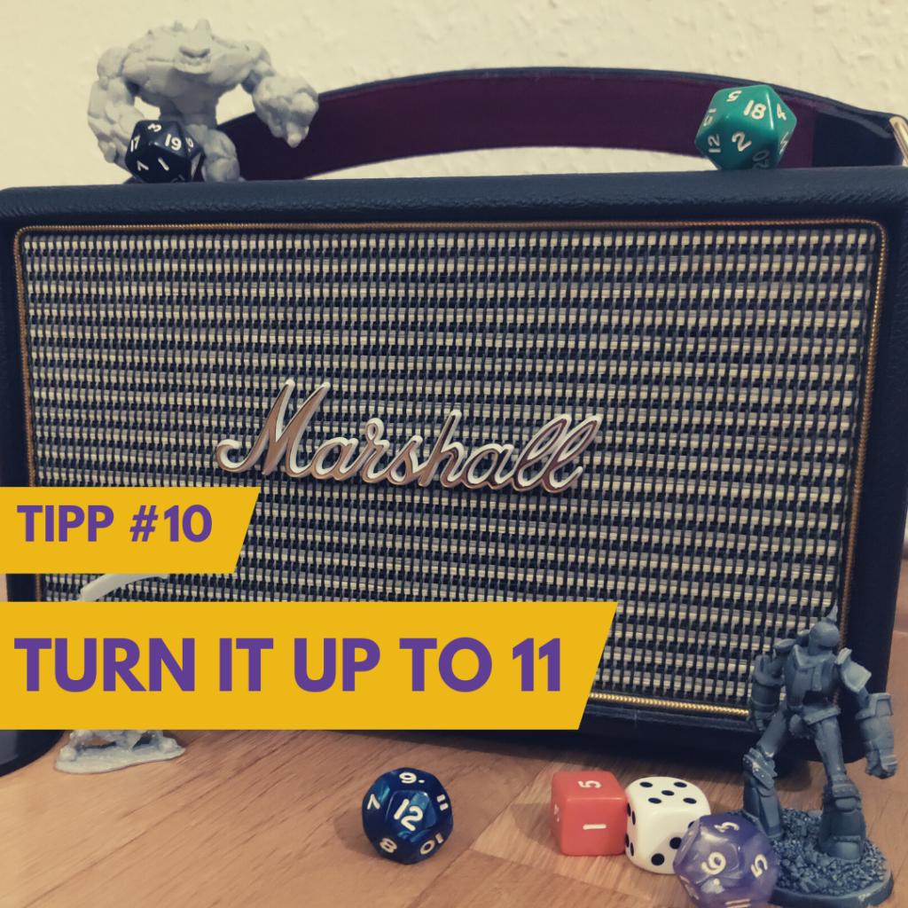 Musik im Rollenspiel Beispielbilt mit Lautsprecher und Miniaturen