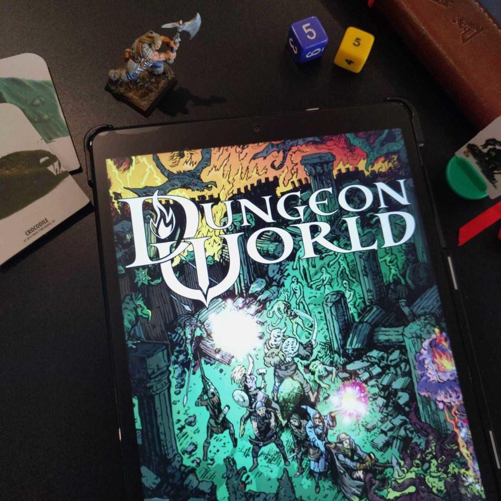 Das Cover des Dungeon World Systems als PDF-Version auf einem Tablet